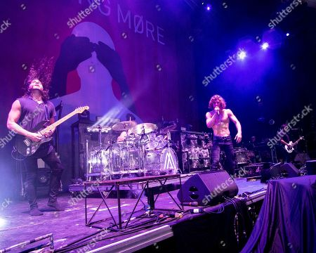 Mark Vollelunga, Ben Anderson, Jonny Hawkins, Daniel Oliver. The American heavy metal band Nothing More with with lead guitarist Mark Vollelunga, drummer Ben Anderson, lead vocalist Jonny Hawkins, and bass player Daniel Oliver performs at the Xfinity Center, in Mansfield, Mass