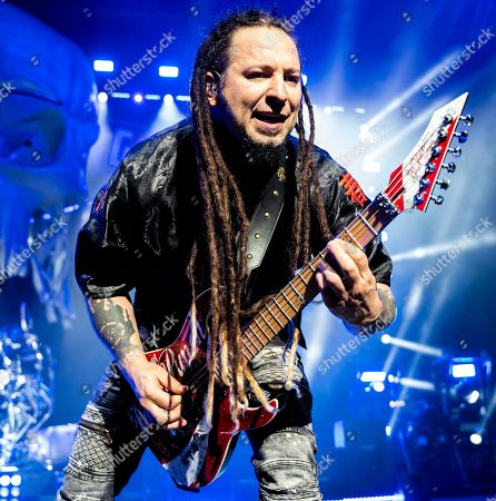 The American heavy metal rock band Five Finger Death Punch with guitarist Zoltan Bathory performs at the Xfinity Center, in Mansfield, Mass