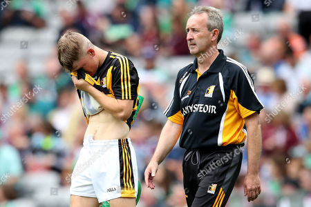 Kilkenny vs Galway. Kilkenny's Ciaran Brennan and Kilkenny manager Richie Mulroonry dejected at the end of the game