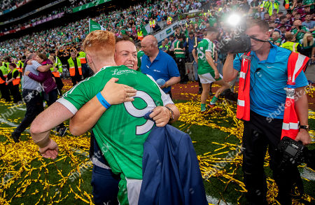 Galway vs Limerick. RTE's Marty Morrissey celebrates with Cian Lynch of Limerick