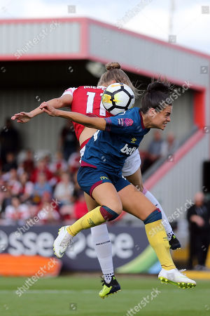Vivianne Miedema of Arsenal WFC  and Claire Rafferty of West Ham United WFC during Arsenal Women vs West Ham United Ladies, FA WSL Continental Tyres Cup Football at Meadow Park on 19th August 2018