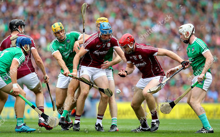 Galway vs Limerick. Galway's Conor Cooney and Jonathan Glynn with Dan Morrissey and Cian Lynch of Limerick