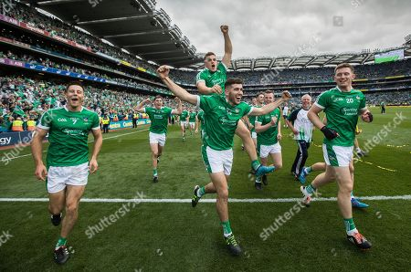 Galway vs Limerick. Limerick's Dan Morrissey, Mike Casey Kevin Downes and William O'Meara celebrate after the game