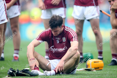 Galway vs Limerick. Galway's David Burke dejected at the end of the game