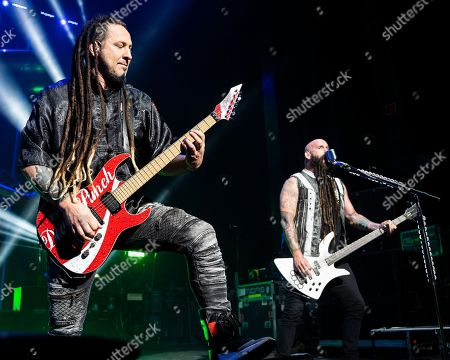 Zoltan Bathory, Chris Kael. The Las Vegas based American heavy metal band Five Finger Death Punch with guitarist Zoltan Bathory and bass player Chris Kael performs during at the Xfinity Center, in Mansfield, Mass
