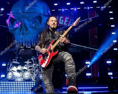 The Las Vegas based American heavy metal band Five Finger Death Punch with guitarist Zoltan Bathory performs during at the Xfinity Center, in Mansfield, Mass