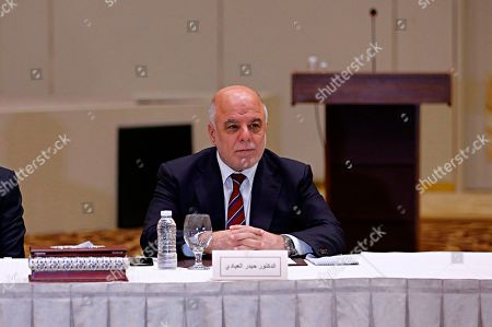 Stock Photo of Iraq Prime Minister Haider al-Abadi meets Iraqi politicians during the negotiations to form a new government after the parliamentary elections, in Baghdad, Iraq, . Iraq's top court has ratified the results of the country's May parliamentary elections following a manual ballot recount ordered by the outgoing chamber following charges of irregularities