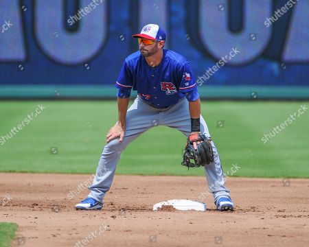 Round Rock infielder, Nick Noonan (17), down and ready at 2nd base during the Pacific Coast League Triple-A baseball game at Auto Zone Park in Memphis, TN. Round Rock defeated Memphis, 3 - 1