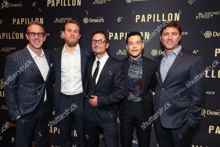 Producer Joey McFarland, Charlie Hunnam, Director Michael Noer, Rami Malek and Producer David Koplan