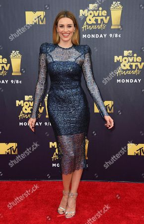 Arielle Vandenberg arrives at the MTV Movie and TV Awards at the Barker Hangar, in Santa Monica, Calif