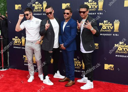 """Vinny Guadagnino, from left, Mike """"The Situation"""" Sorrentino, Ronnie Ortiz-Magro, and Paul DelVecchio, also known as DJ Pauly D, arrive at the MTV Movie and TV Awards at the Barker Hangar, in Santa Monica, Calif"""