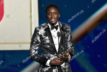 Victor Oladipo, of the Indiana Pacers, accepts the most improved player award at the NBA Awards, at the Barker Hangar in Santa Monica, Calif