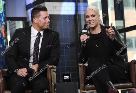 """WWE Superstars Mike """"The Miz"""" Mizanin, left, and his wife Maryse Mizanin participate in the BUILD Speaker Series to discuss their reality television series """"Miz & Mrs"""" at AOL Studios, in New York"""