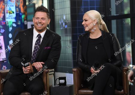 """WWE Superstars Mike """"The Miz"""" Mizanin and wife Maryse Mizanin participate in the BUILD Speaker Series to discuss their reality television series """"Miz & Mrs"""" at AOL Studios, in New York"""
