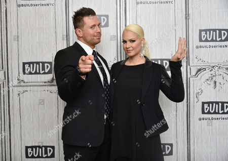 """WWE Superstars Mike """"The Miz"""" Mizanin and his wife Maryse Mizanin participate in the BUILD Speaker Series to discuss their reality television series """"Miz & Mrs"""" at AOL Studios, in New York"""