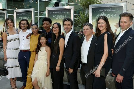 "Mandy Moore, from left, Dan Cohen, Amandla Stenberg, Miya Cech, Skylan Brooks, Shawn Levy, Dan Levine, Alexandra Bracken and Chad Hodge arrive at the LA Premiere of ""The Darkest Minds"" at the Arclight Hollywood, in Los Angeles"