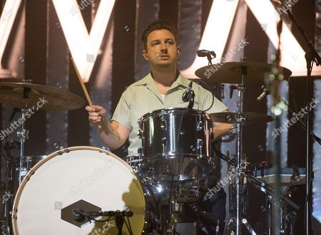Stock Image of Matt Helders of the band Arctic Monkeys performs on Day 2 of the 2018 Firefly Music Festival at The Woodlands, in Dover, Del