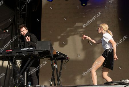 Jeremy Lloyd, left, and Samantha Gongol of the band Marian Hill performs on Day 2 of the 2018 Firefly Music Festival at The Woodlands, in Dover, Del