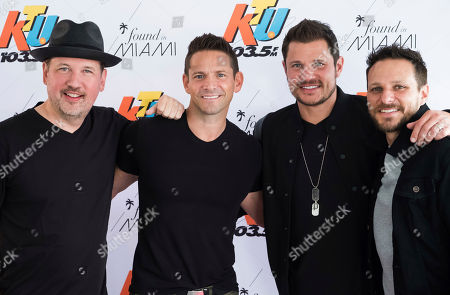 98 Degrees band members, from left, Justin Jeffre, Jeff Timmons, Nick Lachey and Drew Lachey arrive to KTUphoria 2018 at Jones Beach Theater, in Wantagh, New York