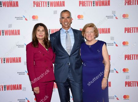 """Producer Paula Wagner, left, director Jerry Mitchell and Barbara Marshall attend a Garry Marshall tribute performance of """"Pretty Woman: The Musical"""" at The Nederlander Theatre, in New York"""