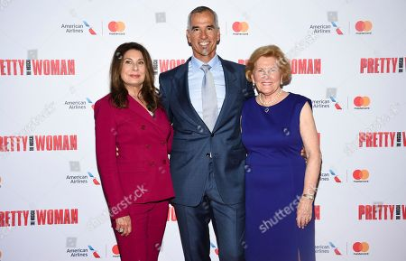 "Producer Paula Wagner, left, director Jerry Mitchell and Barbara Marshall attend a Garry Marshall tribute performance of ""Pretty Woman: The Musical"" at The Nederlander Theatre, in New York"