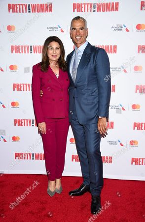 """Producer Paula Wagner, left, and director Jerry Mitchell attend a Garry Marshall tribute performance of """"Pretty Woman: The Musical"""" at The Nederlander Theatre, in New York"""