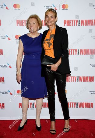 "Late director Garry Marshall's wife Barbara Marshall, left, poses with actress Julia Roberts at a Garry Marshall tribute performance of ""Pretty Woman: The Musical"" at The Nederlander Theatre, in New York"