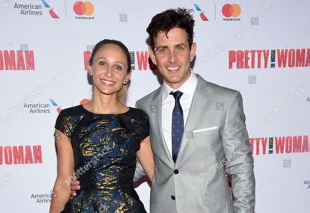 """Singer Joey McIntyre, right, and wife Barrett Williams attend a Garry Marshall tribute performance of """"Pretty Woman: The Musical"""" at The Nederlander Theatre, in New York"""