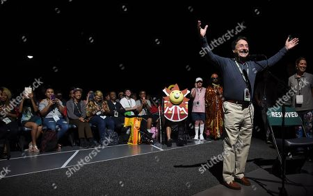 """Peter Cullen, who voices the character of Optimus Prime, speaks in the audience at the """"Bumblebee"""" panel on day two of Comic-Con International, in San Diego"""