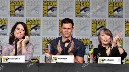 """Stock Image of Melanie Lynskey, from left, Bill Skarsgard and Sissy Spacek attend a panel discussion following the world premiere of """"Castle Rock"""" on day two of Comic-Con International, in San Diego"""