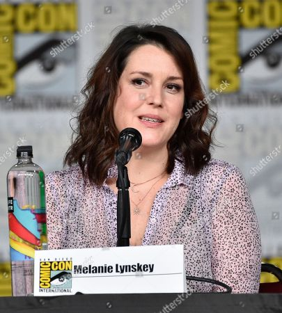 """Melanie Lynskey speaks at a panel discussion following the world premiere of """"Castle Rock"""" on day two of Comic-Con International, in San Diego"""
