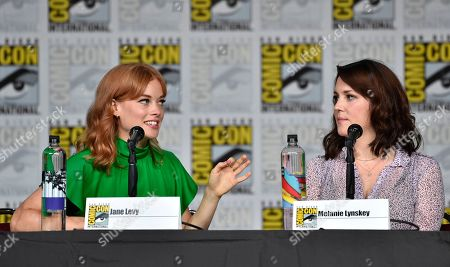 """Jane Levy, left, and Melanie Lynskey attend a panel discussion following the world premiere of """"Castle Rock"""" on day two of Comic-Con International, in San Diego"""