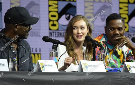 """Lennie James, from left, Alycia Debnam-Carey and Colman Domingo attend the """"Fear the Walking Dead"""" panel on day two of Comic-Con International, in San Diego"""