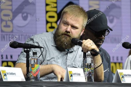 "Robert Kirkman speaks at the ""Fear the Walking Dead"" panel on day two of Comic-Con International, in San Diego"