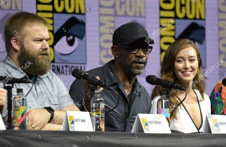"Robert Kirkman, from left, Lennie James and Alycia Debnam-Carey attend the ""Fear the Walking Dead"" panel on day two of Comic-Con International, in San Diego"