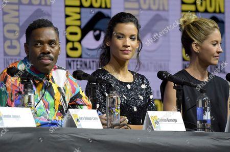 """Colman Domingo, from left, Danay Garcia and Jenna Elfman attend the """"Fear the Walking Dead"""" panel on day two of Comic-Con International, in San Diego"""