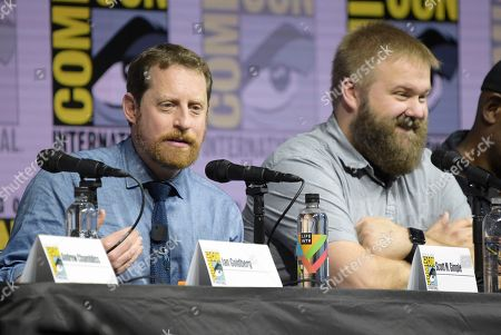 "Scott M. Gimple, left, and Robert Kirkman attend the ""Fear the Walking Dead"" panel on day two of Comic-Con International, in San Diego"