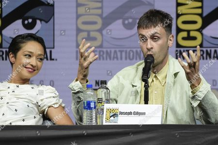"""Stock Picture of Ruth Negga, left, and Joe Gilgun attend the """"Preacher"""" panel on day two of Comic-Con International, in San Diego"""