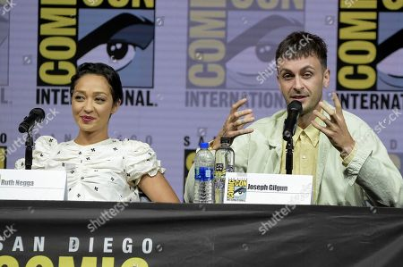 """Ruth Negga, left, and Joe Gilgun attend the """"Preacher"""" panel on day two of Comic-Con International, in San Diego"""