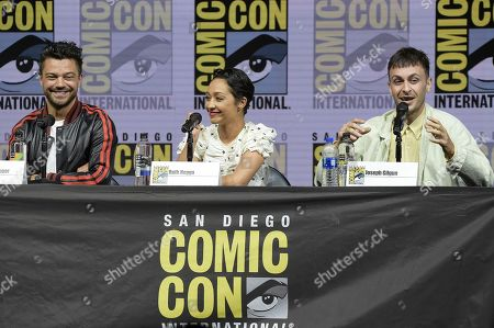 """Dominic Cooper, from left, Ruth Negga and Joe Gilgun attend the """"Preacher"""" panel on day two of Comic-Con International, in San Diego"""