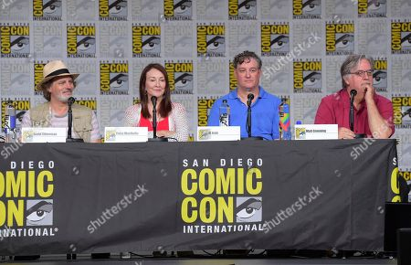 "David Silverman, from left, Tress MacNeille, Al Jean and Matt Groening attend a panel for ""The Simpsons"" on day three of Comic-Con International, in San Diego"