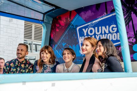 "Young Hollywood TV conducts a mobile interview with the cast of ""Stars vs. Evil "" Adam McArthur, left, Daron Nefcy, Eden Share and Esme Bianco on day one of Comic-Con International on in San Diego, CA"