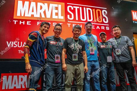 The Marvel Studios Visual Development Team, Rodney Fuentebella, left, Andy Park, Charlie Wen, Ryan Meinerding, Anthony Francisco and Jackson Sze at the Marvel Studios booth on day two of Comic-Con International on in San Diego, CA