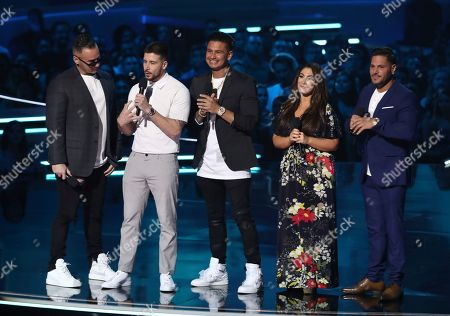 """Mike """"The Situation"""" Sorrentino, from left, Vinny Guadagnino, Paul """"DJ Pauly D"""" DelVecchio, Deena Nicole and Ronnie Ortiz-Magro, from the cast of """"Jersey Shore,"""" present the best on-screen team at the MTV Movie and TV Awards at the Barker Hangar in Santa Monica, Calif"""