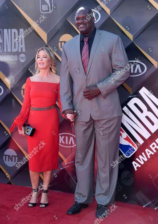 Jeanie Buss, president of the Los Angeles Lakers, left, and Shaquille O'Neal arrive at the NBA Awards, at the Barker Hangar in Santa Monica, Calif