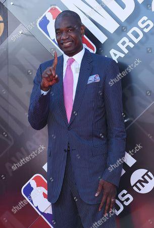Dikembe Mutombo arrives at the NBA Awards, at the Barker Hangar in Santa Monica, Calif
