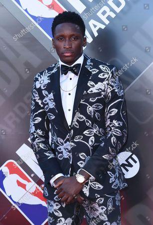Victor Oladipo arrives at the NBA Awards, at the Barker Hangar in Santa Monica, Calif