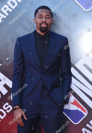Stock Picture of Spencer Dinwiddie arrives at the NBA Awards, at the Barker Hangar in Santa Monica, Calif