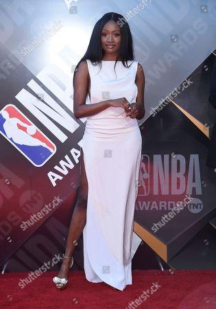 Kayla Brianna arrives at the NBA Awards, at the Barker Hangar in Santa Monica, Calif