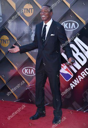 Isiah Thomas arrives at the NBA Awards, at the Barker Hangar in Santa Monica, Calif